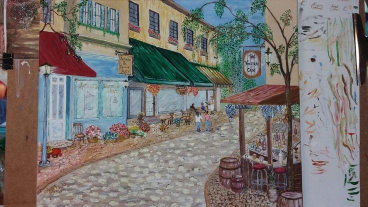 A street scene. ..... oil on canvas