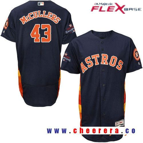 1642ddf17e4 Men s Houston Astros  43 Lance McCullers Navy Blue Alternate Majestic Flex  Base Stitched 2017 World Series