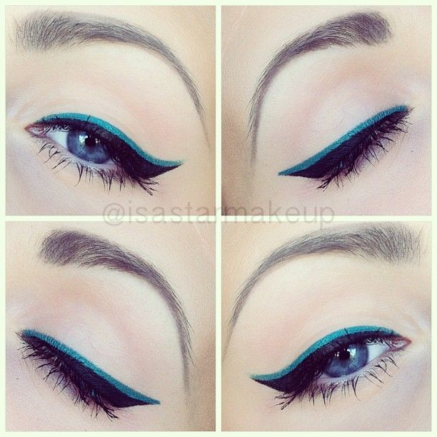 Teal double winged eyeliner #eye #makeup