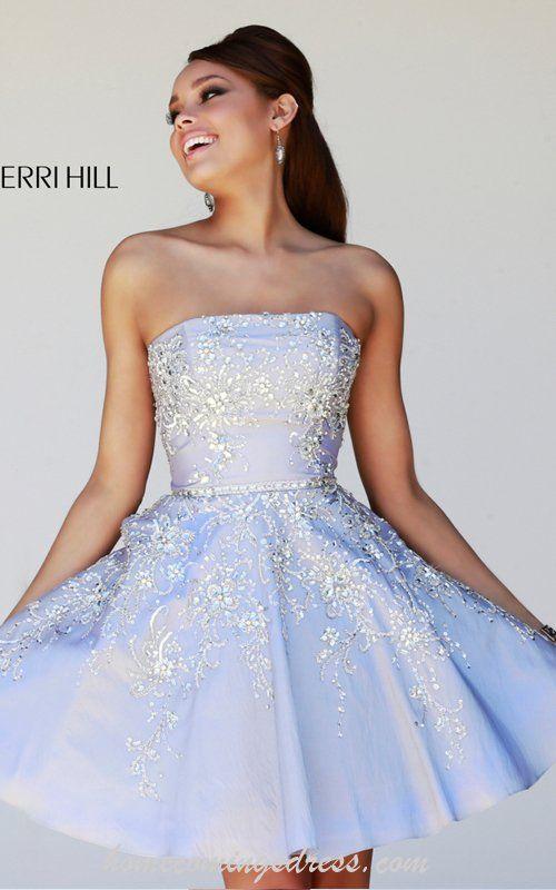 Sherri Hill 21362 A-line Strapless Cocktail Dress Short