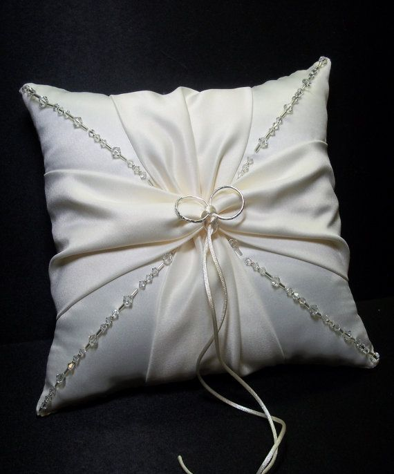 Use coupon code PINITFREESHIP for FREE shipping! Ivory  or White Swarovski Elements Crystal Beaded Wedding Ring Bearer Pillow by Jessicasdaydream