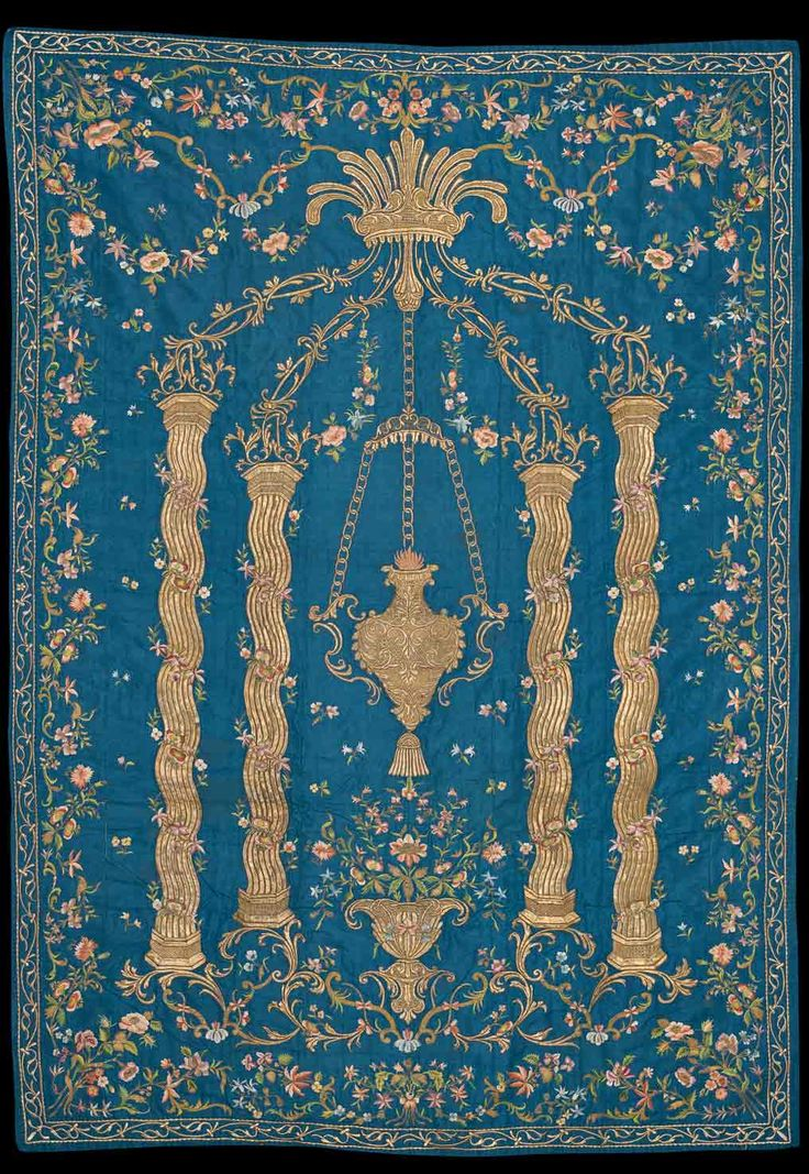 Embroidered silk prayer mat. Late-Ottoman, dated 1821. Embroidery in silk and metal thread. (Sadberk Hanım Museum)