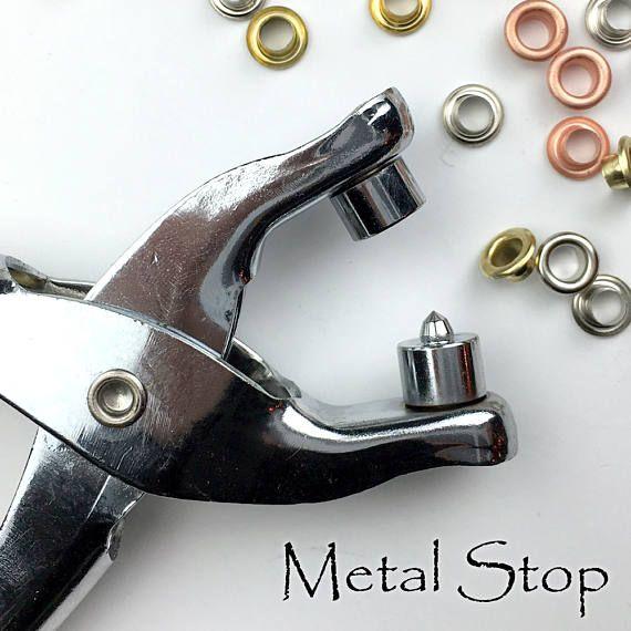 GROMMET PLIER KIT  Hot, Hot, Hot  Includes Grommet Pliers and 100 4mm Multi Color Metal Grommets