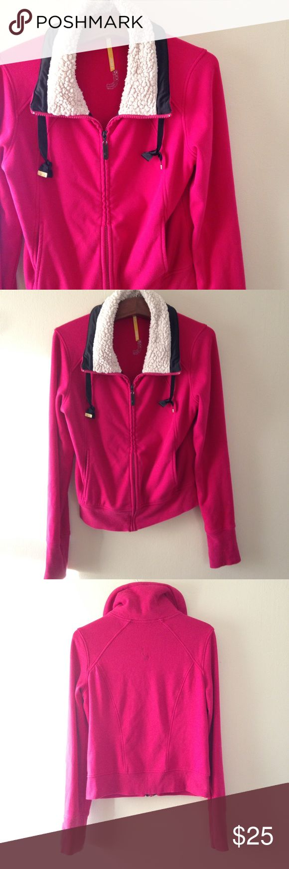 Lolë Faux Shearling Collar Zip Up Faux shearling collar zip up jacket from Lolë. Size: M. Color: pink. Two front pockets, draw string collar, 46% viscose modal, 46% cotton, 8% elastane. Lole Jackets & Coats