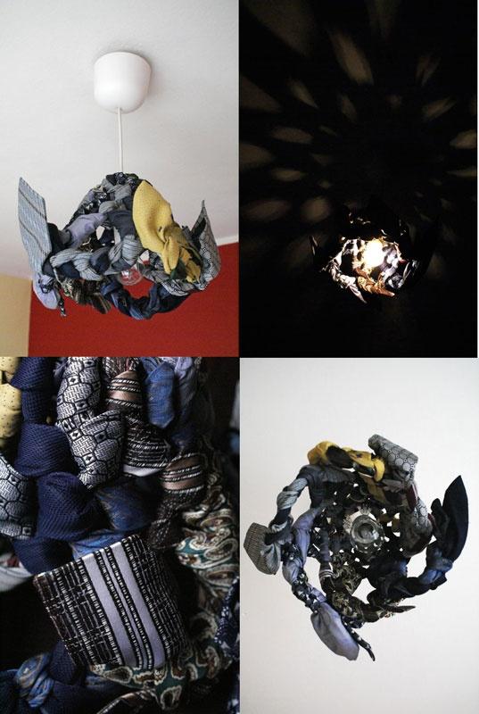 recyklingowy klosz z krawatów