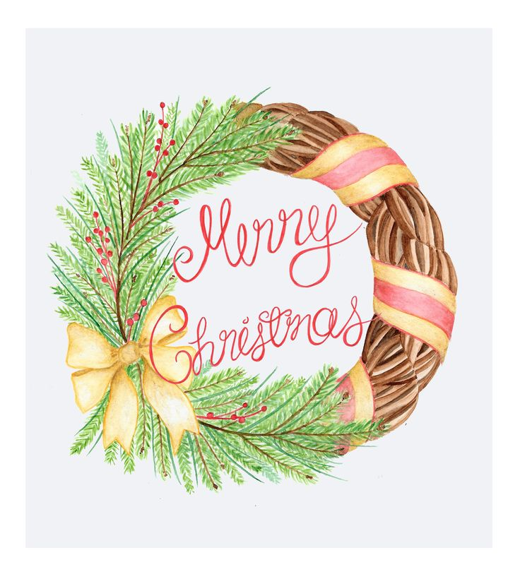 Merry Christmas Wreath Aquarelle by Valpuri