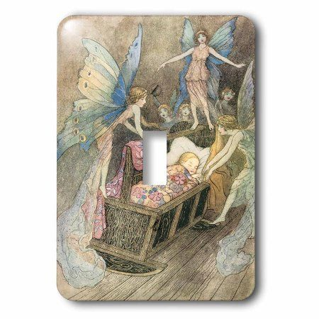 3dRose Book of Fairy Poetry Warwick Goble Fantasy Fairy Painting, Double Toggle Switch