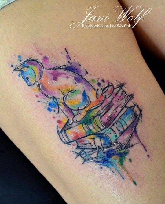 Javi Wolf watercolor cat and books tattoo