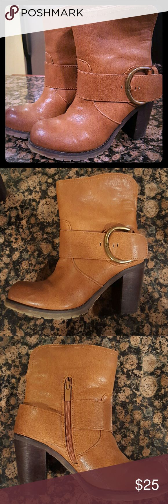 Tan/cognac boots by Very Volatile LA size 7.5 These amazing boots are in excellent condition! The toes have that faded look, 1 slight scuff that I will add some shoes polish to before shipping. See photos. Size 7.5 Very Volatile LA Shoes Heeled Boots