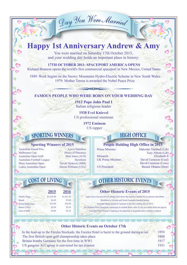 1ST WEDDING ANNIVERSARY CERTIFICATE Pink Bells Design