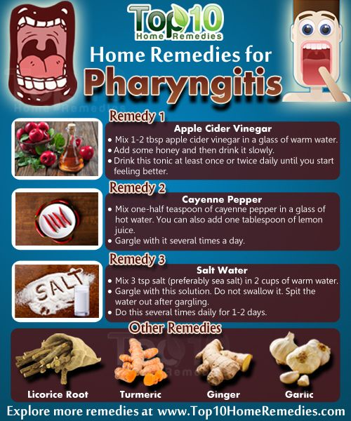 Home Remedies for Pharyngitis. Mix one to two tablespoons of apple cider vinegar in a glass of warm water. Add some honey and then drink it slowly. Drink this tonic at least once or twice daily until you start feeling better. #homeremedies