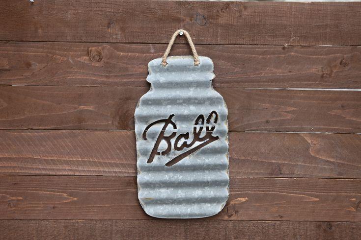 "Small Mason Jar ""Ball"" made out of barn tin from Oklahoma."