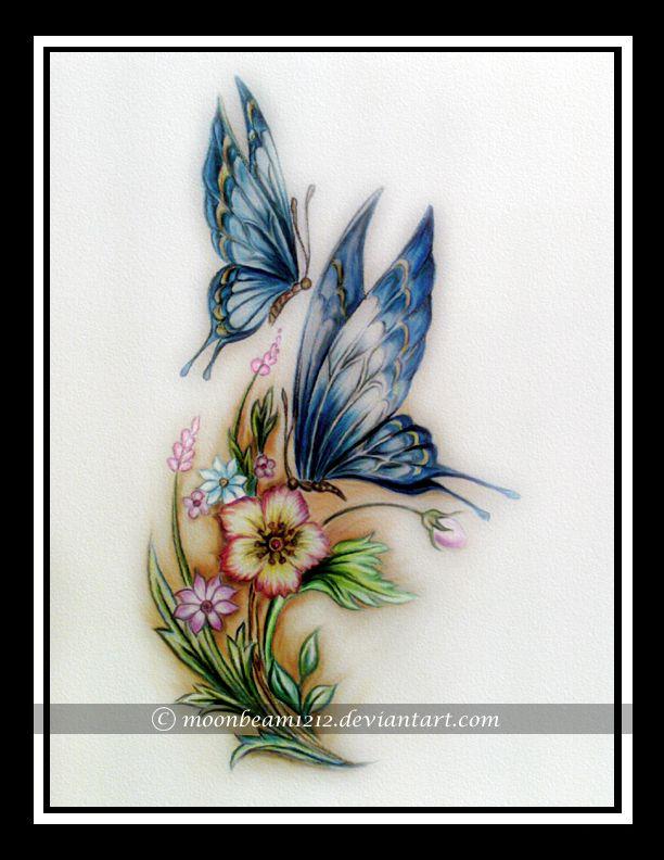 Butterfly and Flower by moonbeam1212.deviantart.com on @deviantART
