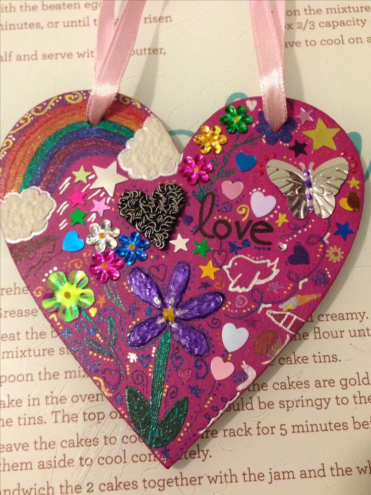 Wooden heart decorated with various paints, sequins & glittery gel pens x