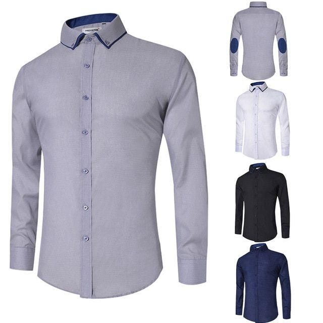 Mens Long Sleeve Business Formal Button Down Shirt Slim Fit Dress Shirt