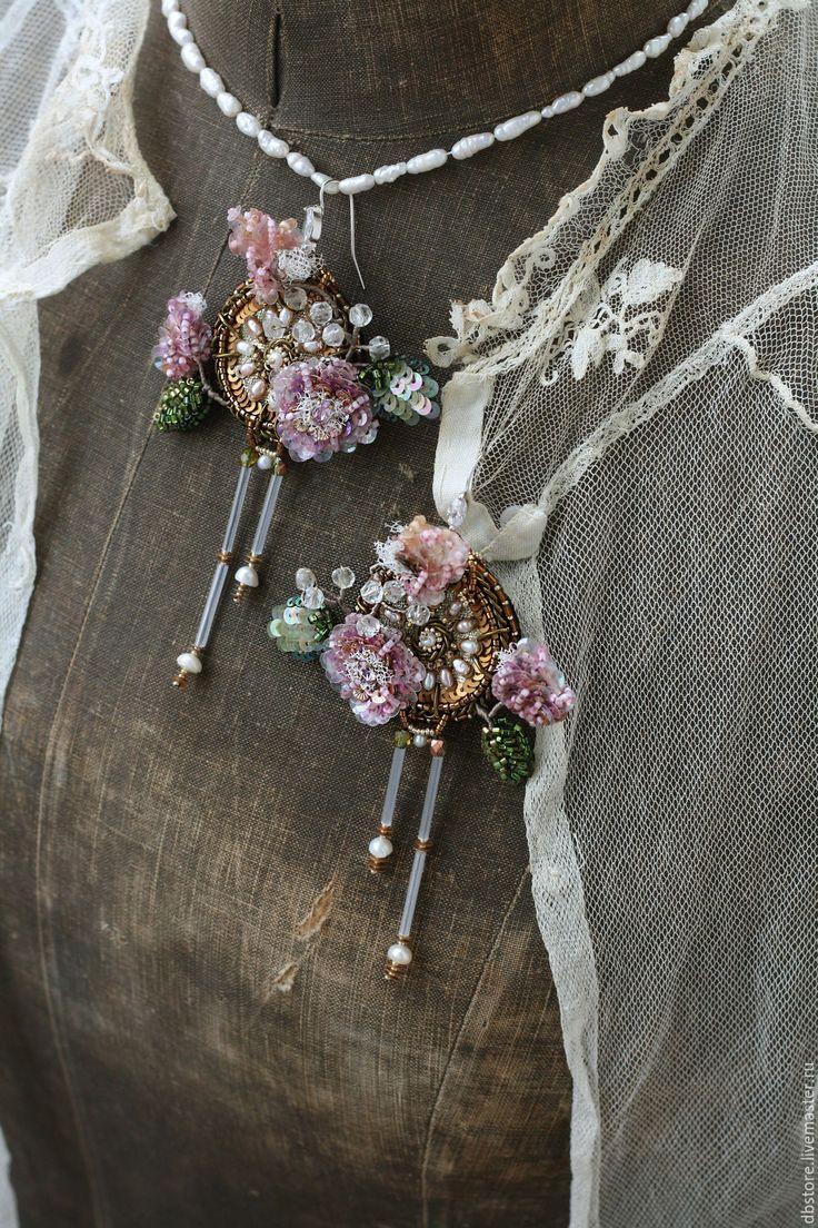 """Купить Серьги """"Цветы"""" - комбинированный, серьги длинные, серьги крупные, цветы, вышивка ручная"""