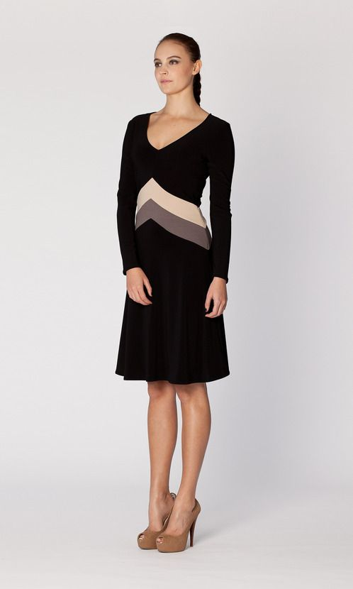 https://www.cityblis.com/4005/item/3873 | Arrow Contrast Black - $243 by Leina Broughton | The V-neck on this style is flattering on both a small and larger bust. The contrast Arrow Panels are made from a heavier fabric (ponti) so it feels like the dress holds you in all the right places.  The contrast tones are eye-catching but also create shape at your waistline.  My guess is this may b... | #Dresses