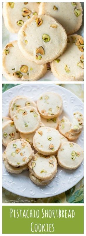 A simple slice and bake shortbread cookie loaded with buttery flavor, vanilla beans and pistachios.