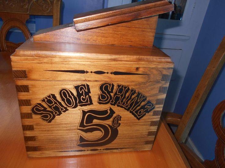 Vintage Solid Eastern Pine Wood Shoe Care Kit Made In USA #ShoeCareKIt