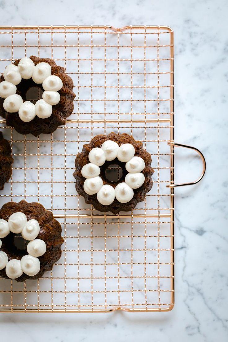 "Gingerbread Bundt Cakes + Vanilla Cashew ""Buttercream"" food photography, food styling"