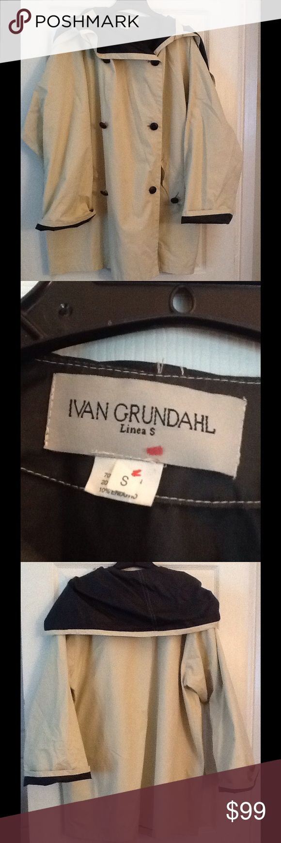 IVAN GRUNDAHL TRENCH RAIN COAT JACKET, AMAZING! Ivan GRUNDAHL sz Small trench style jacket. Beige with black collar.  Nice condition, minor marks. Not visible when wearing. Just needs to be washed. Cotton/nylon blend. Amazing jacket! Ships out right away. Ivan Grundahl Jackets & Coats Trench Coats