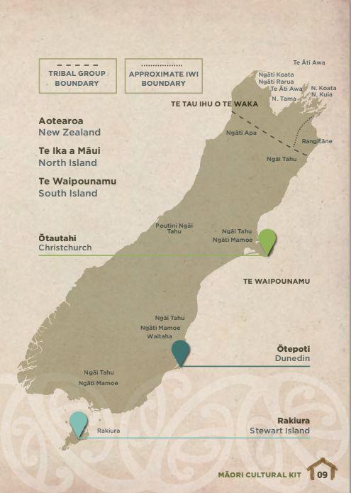Map of NZ Maori Iwi - South Island