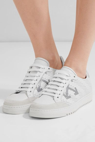 Off-White - Perforated Printed Leather Sneakers - IT