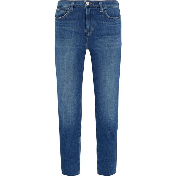 L'Agence Marcelle cropped low-rise skinny jeans (£175) ❤ liked on Polyvore featuring jeans, pants, mid denim, low rise skinny jeans, cuffed cropped jeans, cuff jeans, striped skinny jeans and blue skinny jeans