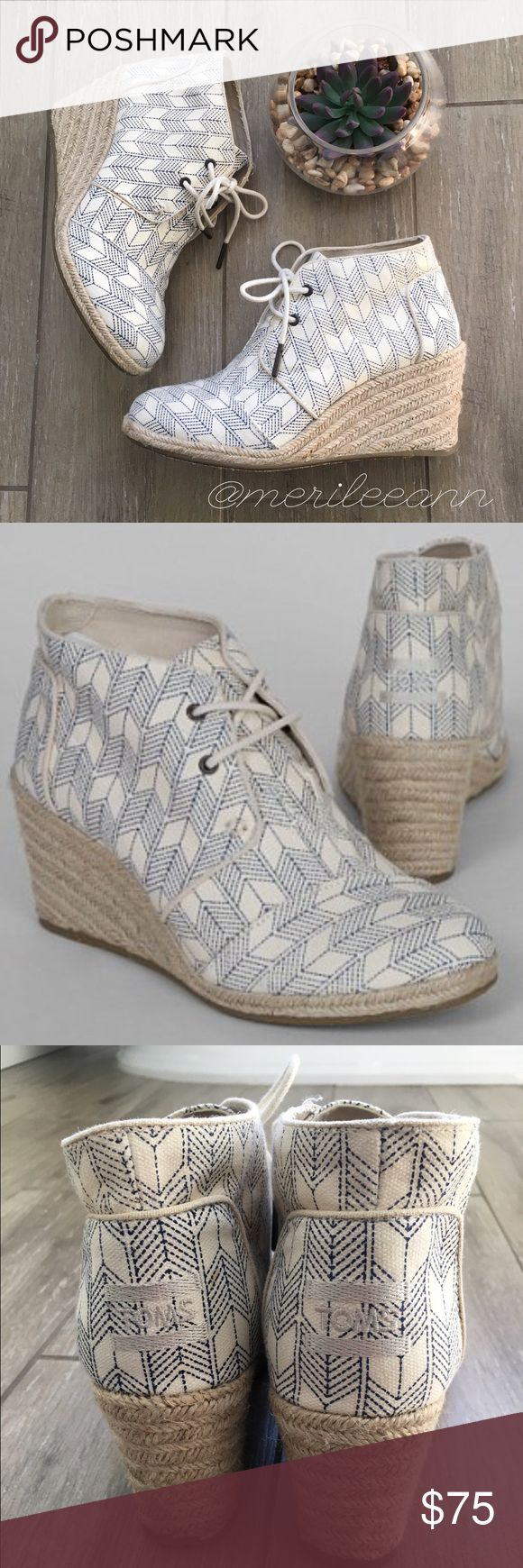 TOMS Desert Wedge Burlap Lace Up Look chic this Spring in these comfortable wedges!!  These are in excellent condition, as shown. Worn twice. No original box, but I wrap and ship carefully. Don't miss these! TOMS Shoes Ankle Boots & Booties