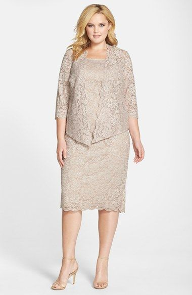 Alex Evenings Shimmering Floral Lace Sheath Dress with Jacket (Plus Size) available at #Nordstrom
