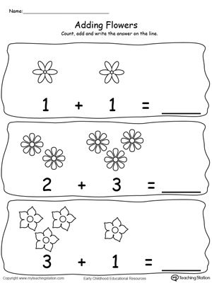 **FREE** Adding Numbers With Flowers - Sums to 2-5-4 Worksheet. Add numbers using pictures of flowers. Sums to 2-5-4 in this printable math worksheet. #MyTeachingStation