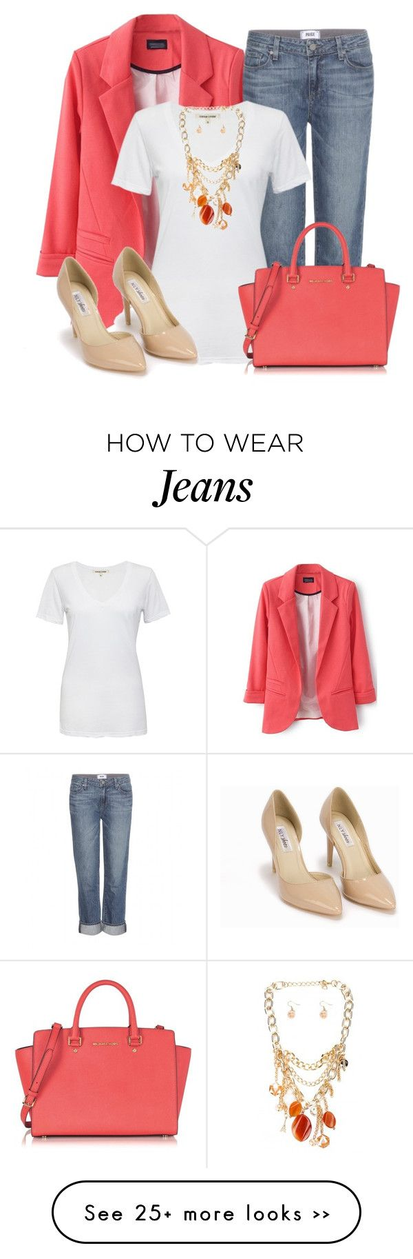 """""""White T Shirt and Jeans"""" by lchar on Polyvore featuring Paige Denim, Cotton Citizen, Michael Kors and Nly Shoes"""