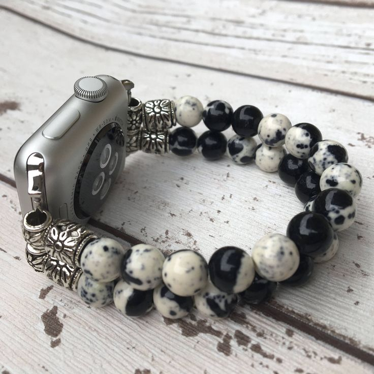 Apple Watch Band Womens Apple Watch Strap Apple Watch Bracelet Apple Watch Jewelry iwatch bracelet band Apple beaded band Black Apple Watch by SistersAndGems on Etsy