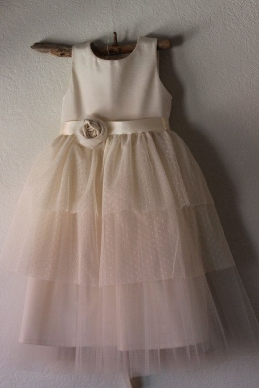Vintage style flower girl dress natural organic cotton by for Organic cotton wedding dress
