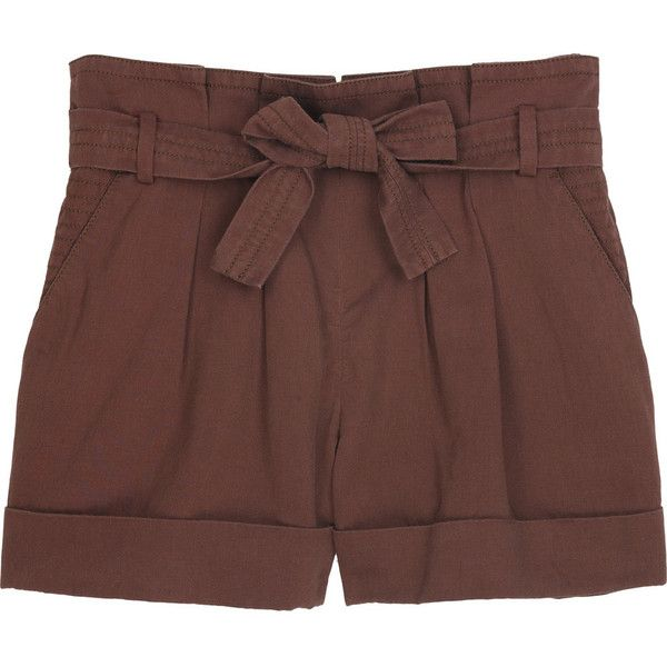 Vanessa Bruno Athé Paperbag-waist shorts ($155) ❤ liked on Polyvore featuring shorts, bottoms, pants, short, women, highwaist shorts, high rise shorts, brown high waisted shorts, high-rise shorts and high-waisted shorts