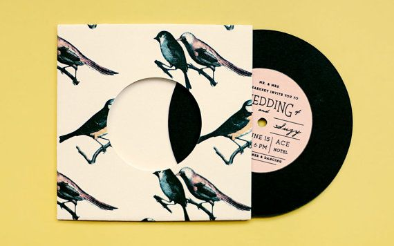 Vintage Wedding invitation - Bird Pattern Record with Sleeve Invitation via Etsy