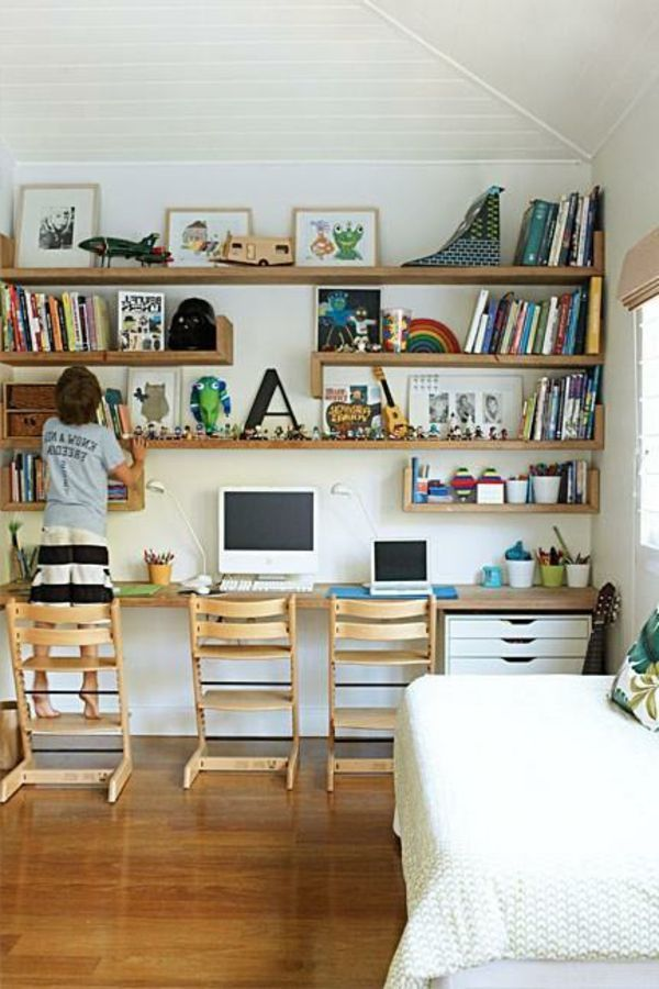 Schreibtisch Selber Bauen Ideen Viele Regale Aus Holz Jpeg 600900