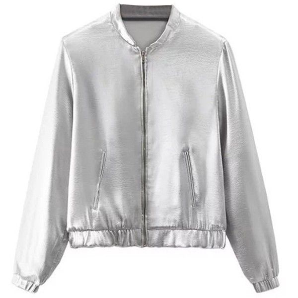 Amazon.com: Joeoy Women's Silver Zip Up Long Sleeve Bomber Jacket:... (365.445 IDR) ❤ liked on Polyvore featuring outerwear, jackets, blouson jacket, flight jackets, zip up jackets, silver jacket and long sleeve jacket