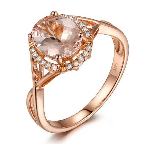 Solid 14K Rose Gold Oval Cut 6x8mm Morganite (Fancy Pink,VS) Halo 0.11ctw Pave Diamonds Engagement Wedding Ring, http://www.amazon.com/dp/B00F8HXMUK/ref=cm_sw_r_pi_awdm_CssYvb1SDPS89