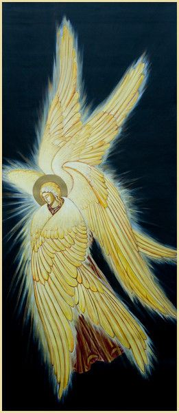 Seraphim have six wings - in this version (which is about 8 feet tall) I've worked to give the wings a sense of emanating light.