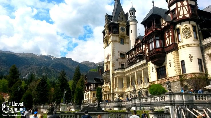 The front terraces of Peles Castle and the Bucegi Mountains in the background #amazing #castles #romania #sinaia #transylvania