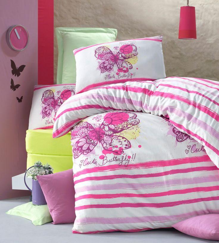 Lenjerie de pat din bumbac Valentini Bianco VKR10 Cute Buttefly Roz