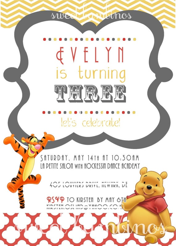 26 best Pooh Birthday Party images – Tigger Birthday Party Invitations