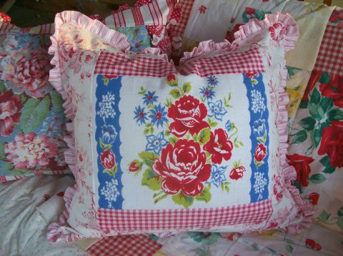 Vintage Tablecloth Pillow