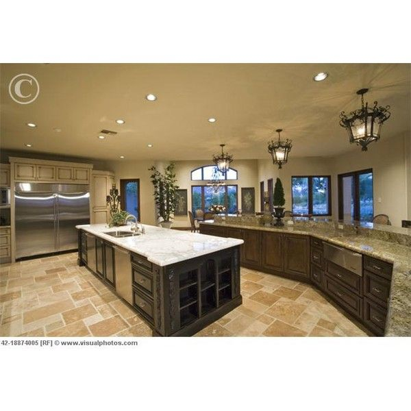 Large Kitchen Island with Marble Counter [42-18874005