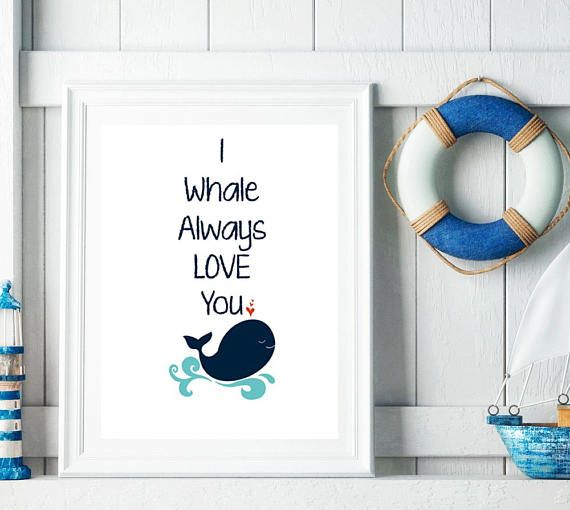 Whale Nursery Art, Whale Nursery Print , Nautical Whale  Nursery, Nautical Decor, Kids room Art, Sea Animal Print , Ocean Theme