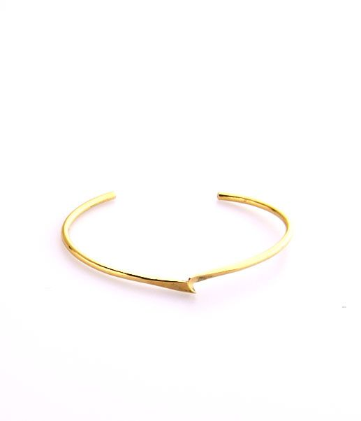 Pinched Lola Cuff. Made from recycled brass and 14k gold.