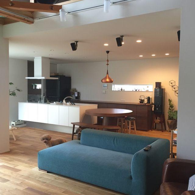 minminさんの、リビング,IKEA,ソファ,ダイニングテーブル,ベンチ,ペンダントライト,パナソニック,パナソニックキッチン,のお部屋写真