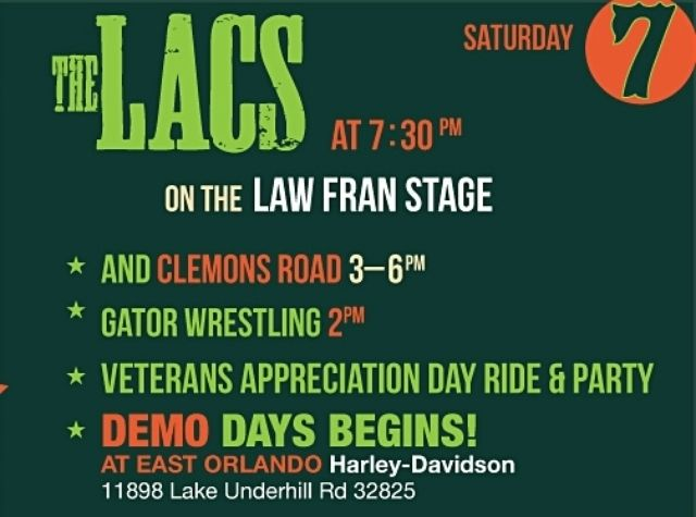 Kick off your weekend with our Veterans' Appreciation Ride, hit up Demo Days at East Orlando Harley Davidson, then head over to the historic I-4 Dealership for Gator Wrestling, Clemons Road and The Lacs on the Law Fran stage! ‪#‎OrlandoBikeWeek‬ ‪#‎OrlandoHarley‬ ‪#‎TheLacs‬ ‪#‎Veterans‬ ‪#‎ProjectVetRelief‬