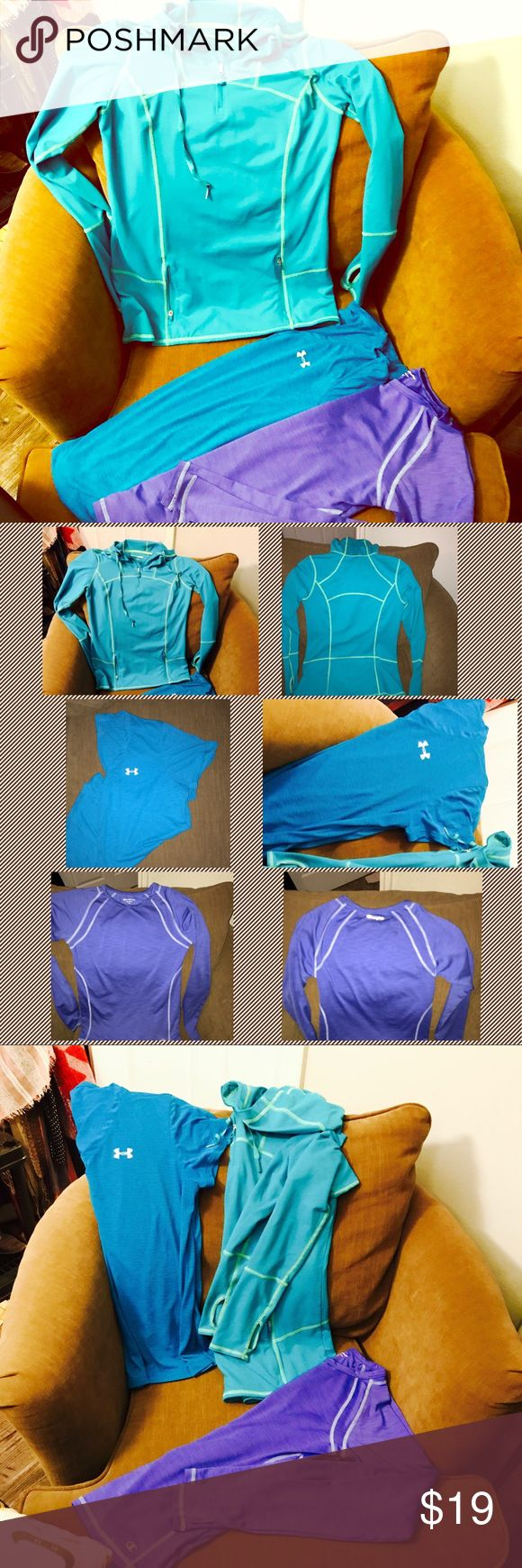 Set of 3 Exercise Workout Tops Women's S & M 👟🔆 Set of 3 exercise/workout tops including one short sleeve UnderArmour (size small-medium), one long sleeve hooded pull-over from Costco/Kirkland brand (size small), and one long sleeve Champion brand top. All in great, lightly used condition.  *Note -Kirkland hooded pullover has a flaw on back shoulder where thread has started to come loose. This is difficult to notice. See picture of it below.  Welcome to use Offer Button as well as Bundle…